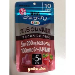 Детский кальций и кисло-молочные бактерии, со вкусом клубники - UHA Gummy Supple Kids Calcium & Lactic Bacteria